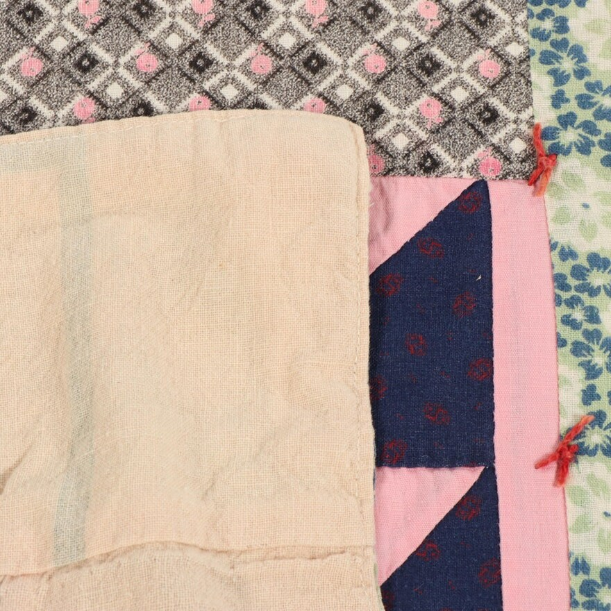Antique Handmade Patchwork Tie Feedsack Quilt Flying Geese