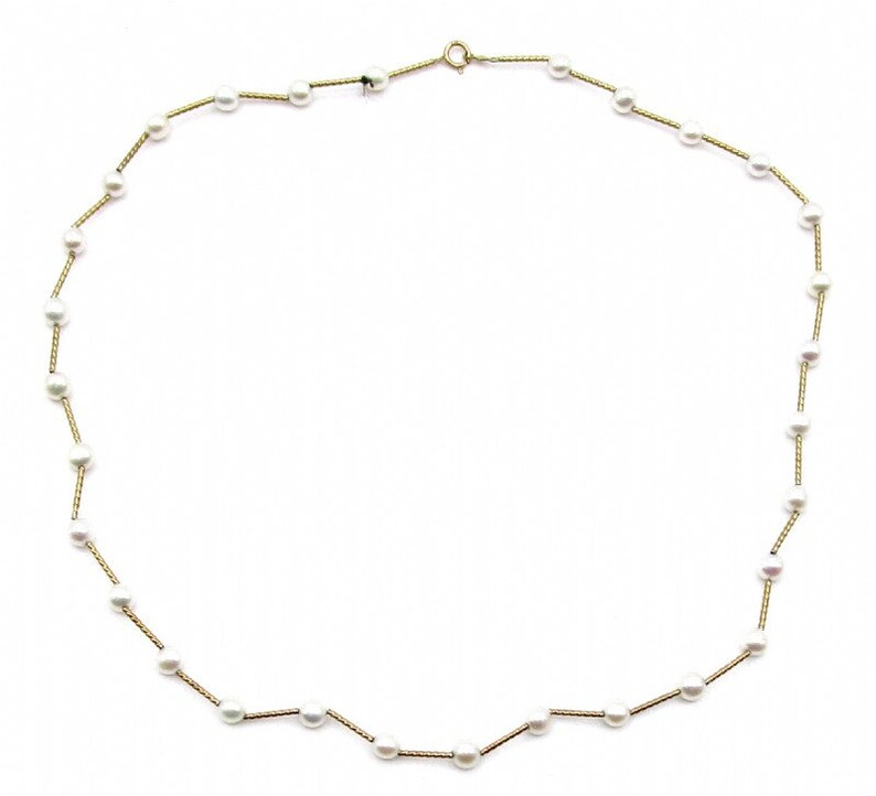 Vintage 14K Solid Gold 5mm Natural Freshwater Cultured Pearl Beaded Necklace 18