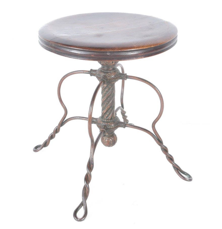 Stupendous Antique Tonk Chicago Round Wood Piano Stool With Swivel Pabps2019 Chair Design Images Pabps2019Com