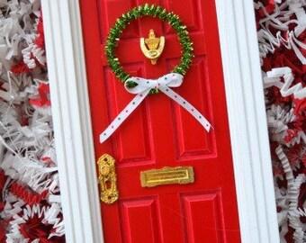 Christmas Elf Door   Magical Door   Red and White Holiday Door