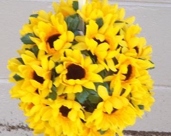 "Sunflowers Kissing ball pomander 10"" for wedding decoration"