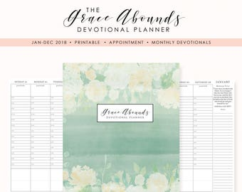 2018 printable planner devotional planner appointment etsy