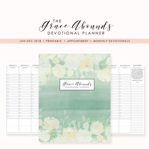 2018 printable planner appointment planner christian etsy