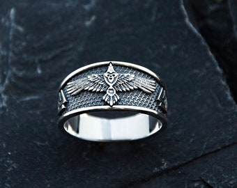 Raven celtic Viking Ornament ring Sterling silver (MK2)