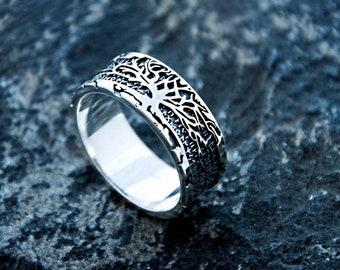 Teldrassil  Viking runes Ornament ring Sterling silver