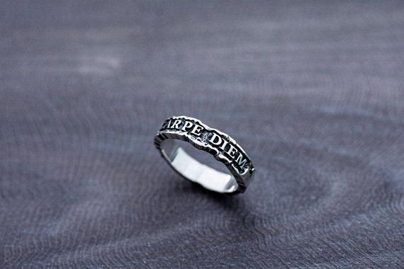 Sterling Silver Carpe Diem Inspiration Word Ring