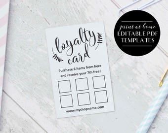 Loyalty cards etsy loyalty card templates instant download editable pdf business printables printable loyalty cards colourmoves Images