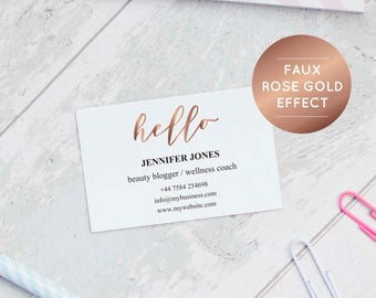 rose gold business card templates printable business cards business branding etsy seller gold business stationery calling cards - Rose Gold Business Cards