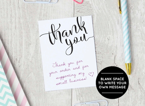 Printable Thank You Cards Etsy Seller Thank You Packaging Etsy