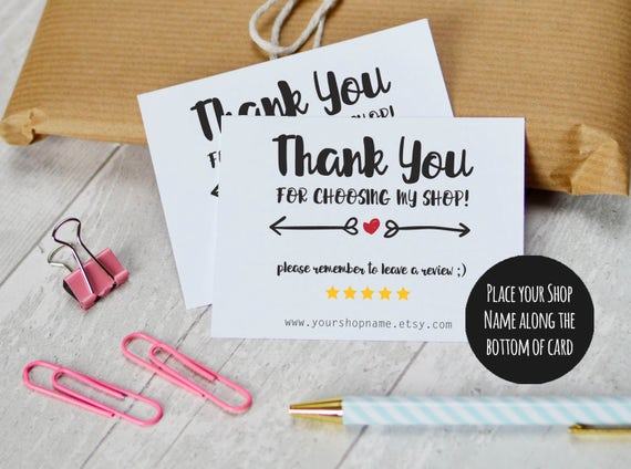 Etsy Shop Thank You Cards Instant Download Etsy Sellers Etsy