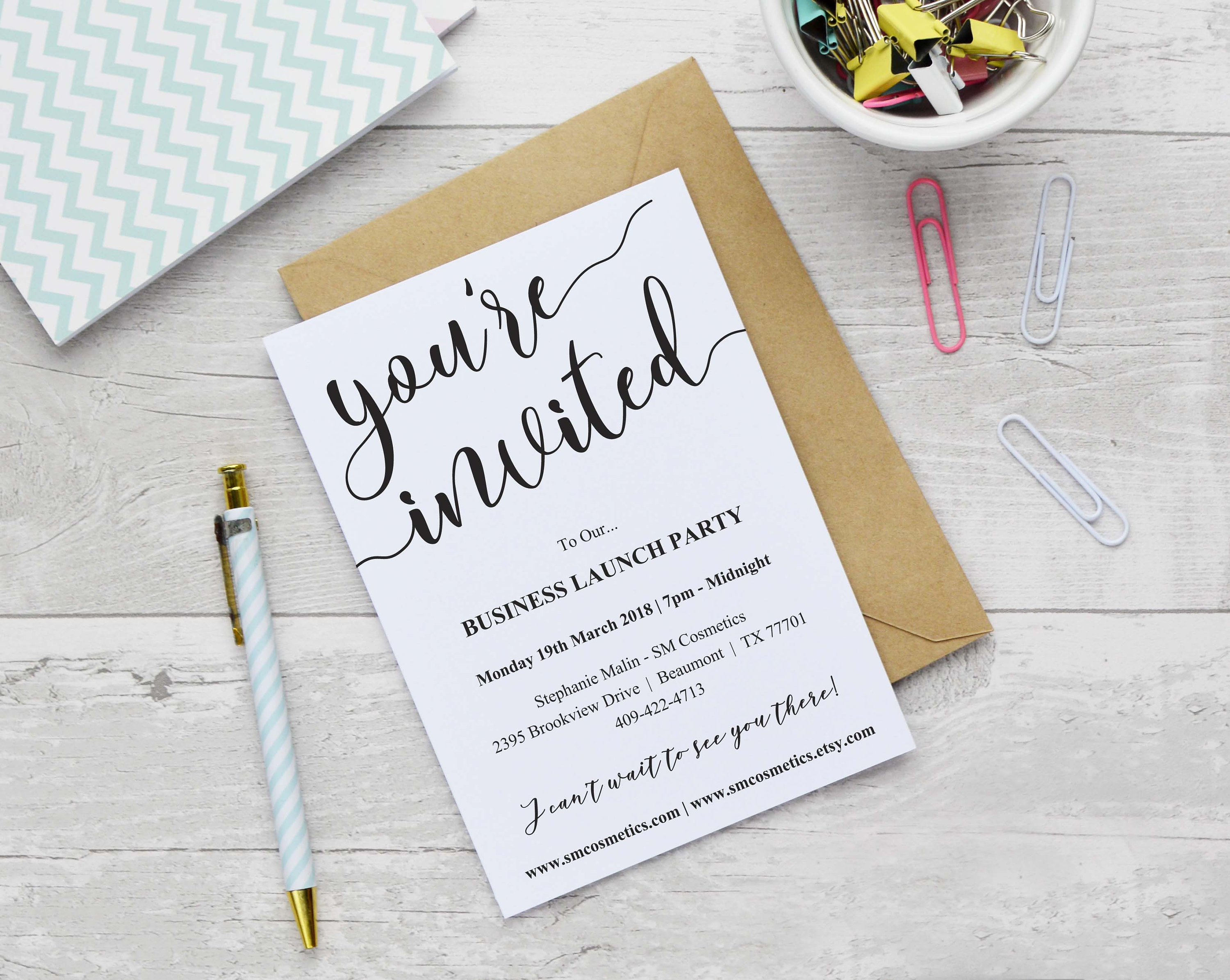 Business Launch Invitation Template Instant Download Etsy