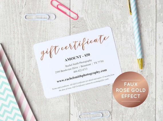 Rose Gold Gift Certificate Template Instant Download Editable Gift Certificate Printable Gift Voucher Business Template Gift Card