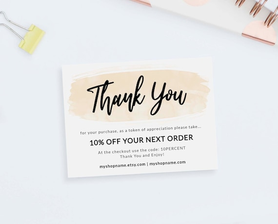 Modern Thank You Card Template Instant Download Shop Review Etsy
