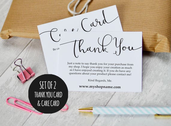 Etsy Shop Thank You Cards And Care Cards Set Of 2 Instant Etsy