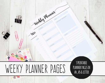 Printable Weekly Planner, Planner Pages, INSTANT DOWNLOAD, Weekly Organizer, Weekly Planner Inserts, Printable To Do, Weekly Tasks