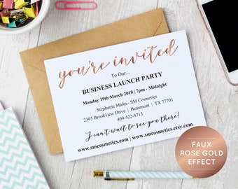 Invitation template etsy rose gold business invitation template instant download editable pdf business launch party invite stopboris