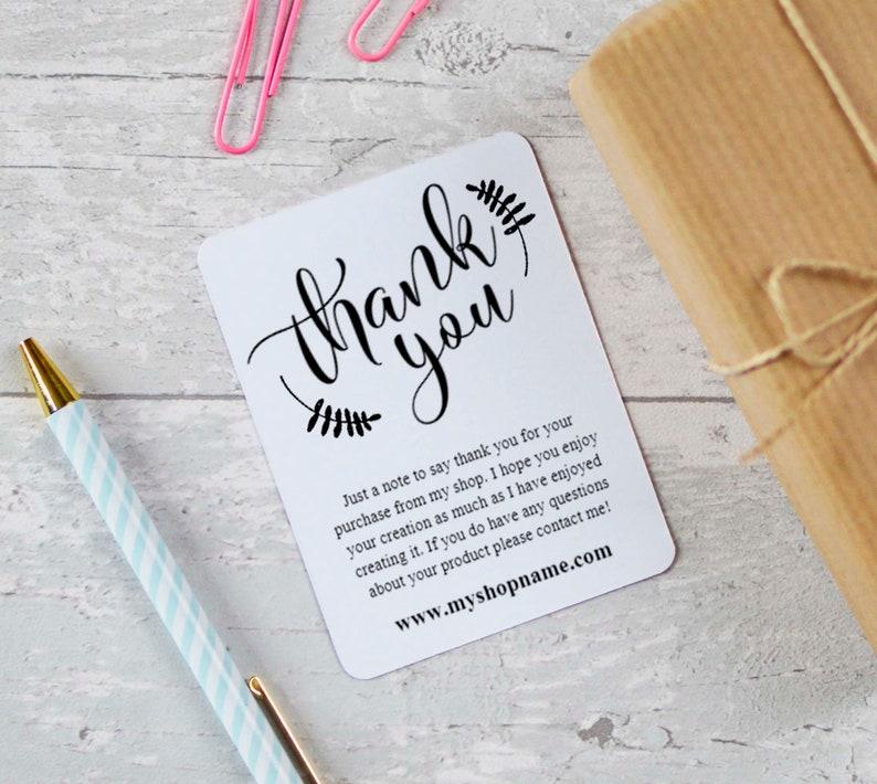 Etsy Seller Thank You Cards INSTANT DOWNLOAD Etsy Shop | Etsy