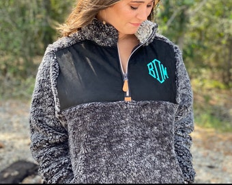 Monogrammed Faux Wool Pullover  Monogrammed  Embroidered