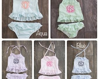 Girls Monogram Swim Suit, Seersucker Swim suit, Personalized Swim suit,  Monogrammed Swimsuit, Girls Personalized Swim, Girls Two Piece 3528a3d612