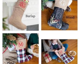 Monogrammed Christmas Stockings, Burlap Stockings, Personalized Stocking, Monogrammed Stocking, Christmas Stocking, Personalized Stockings