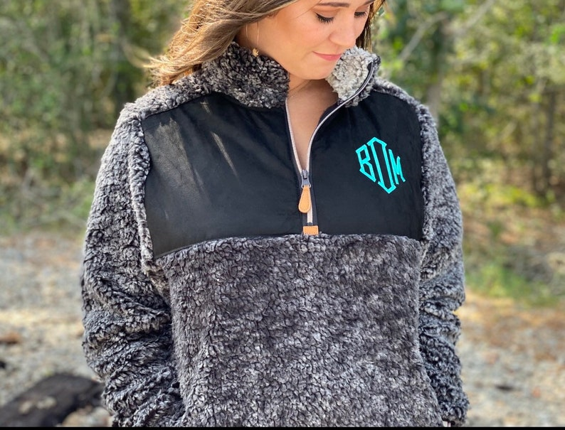 SALE Monogram Sherpa Pullover Jacket Monogram Sherpa Fleece image 0