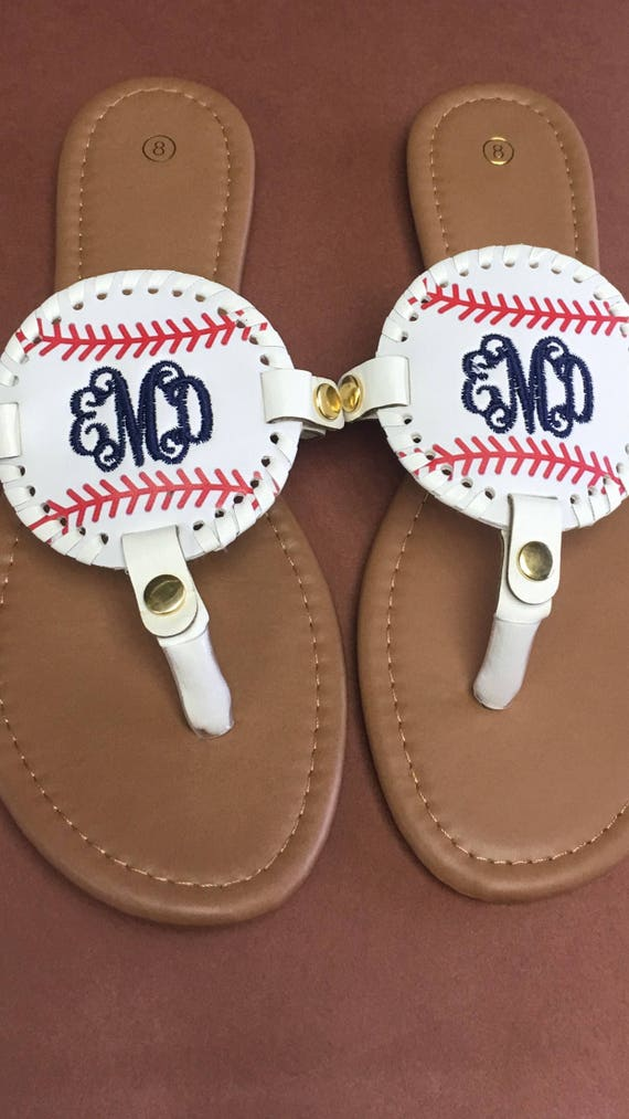 Monogrammed Softball Baseball Medallion /& Solid Black Medallion Sandals Flip Flops Personalized Summer Gifts