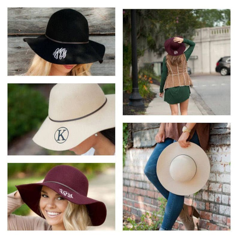 29d8c00b8ee Monogrammed Floppy Hat Wool Floppy Hat Personalized Hat
