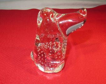 Glass Hound Dog Paper Weight/Figurine Bullerre Hound
