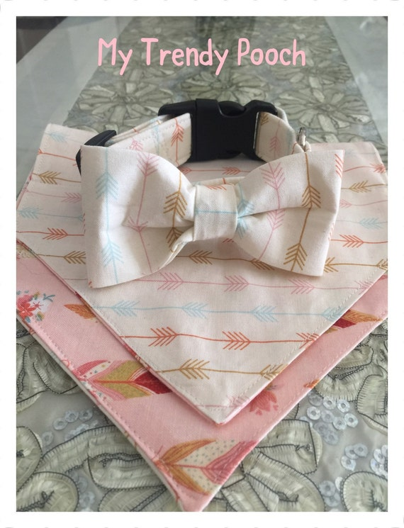 Cream with Arrows Dog Collar, bow tie or bandana, adjustable fabric collar, side release collar,  Cat Collar