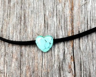 Ceramic Turquoise Heart Choker Necklace