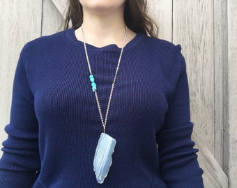 Pendant Necklace with Turquoise Accent