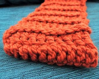 Handmade Red-Orange Crochet Infinity Scarf