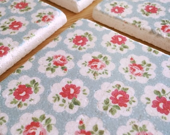 Tile Coasters - Small Pink Flowers
