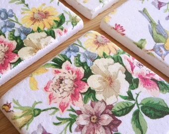 Tile Coasters - Yellow Floral