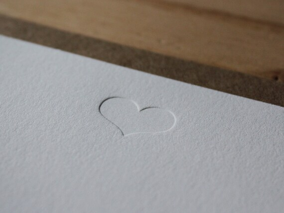 Heart - Blind Impression Flat Letterpress Greeting Card / Note Card
