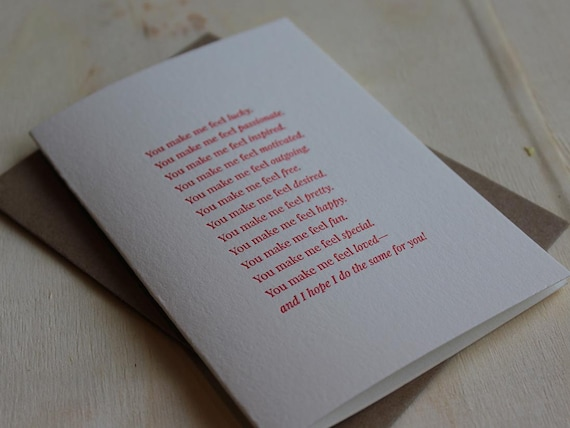 You make me feel...Letterpress Folded Greeting Card / Note Card / Loving Sentiment