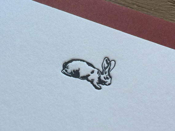 Bunny - Letterpress Flat Note Card Set / Greeting Card Set / Cute / Animal Theme - 4 cards