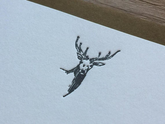 Deer - Letterpress Flat Note Card Set / Greeting Card Set / Cute / Animal Theme - 4 cards