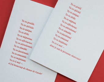 Tu es ... Letterpress Folded Greeting Card / Note Card / Loving Sentiments