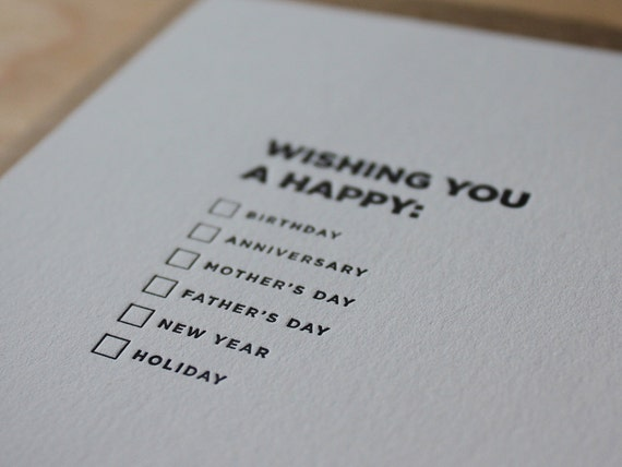Wishing you a happy... Letterpress Flat Fill-It-Yourself Greeting Card