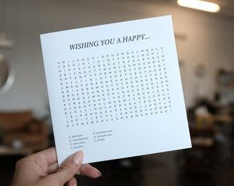 Wishing you a happy... Letterpress Folded Fill-It-Yourself Large Greeting Card