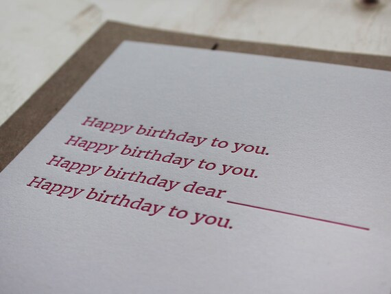 Birthday Song. Letterpress Flat Greeting Card / Birthday Card