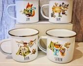 Woodland animal enamal camping mugs, foxes and raccoons