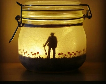 Remembrance  memorial jar light. British soldier and poppy field (lest we forget), flanders fields, mason jar