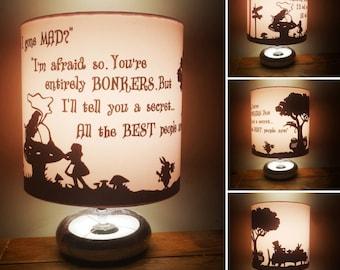 Alice in Wonderland bedside/reading lamp. Including; cheshire cat, mad hatter, caterpillar, white rabbit, Tweedledee and tweedledum