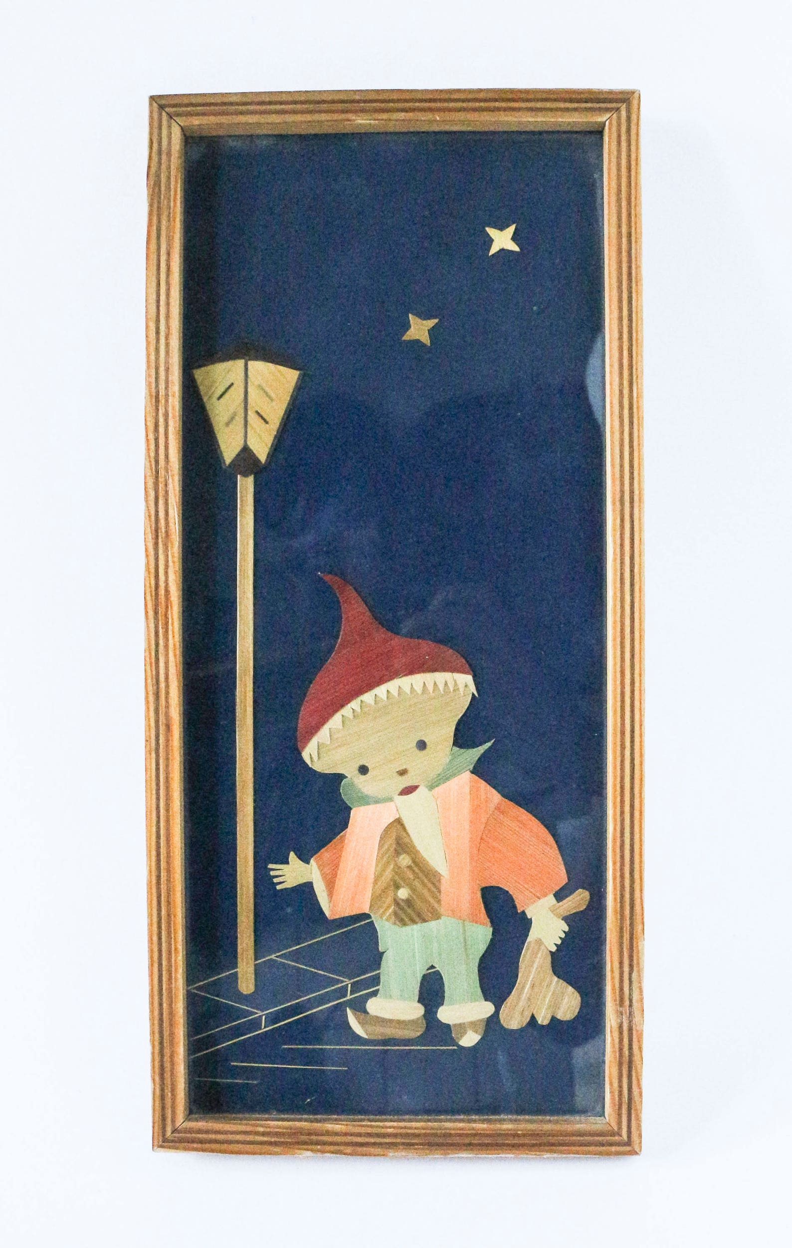 Vintage picture with wood intarsia - German children figure 'Sandmännchen' bringing good dreams - GDR television show Mr. Sandman 70s 80s