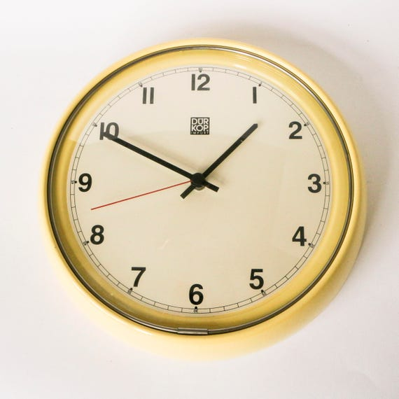 Big Vintage Kitchen Clock In Pastel Yellow German 50s 60s | Etsy