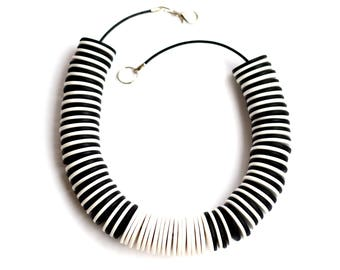 Large Necklaces for Women, Black and White Statement Necklace, Big Bold Chunky Necklace, Polymer clay Necklace, Modern Necklace Beaded
