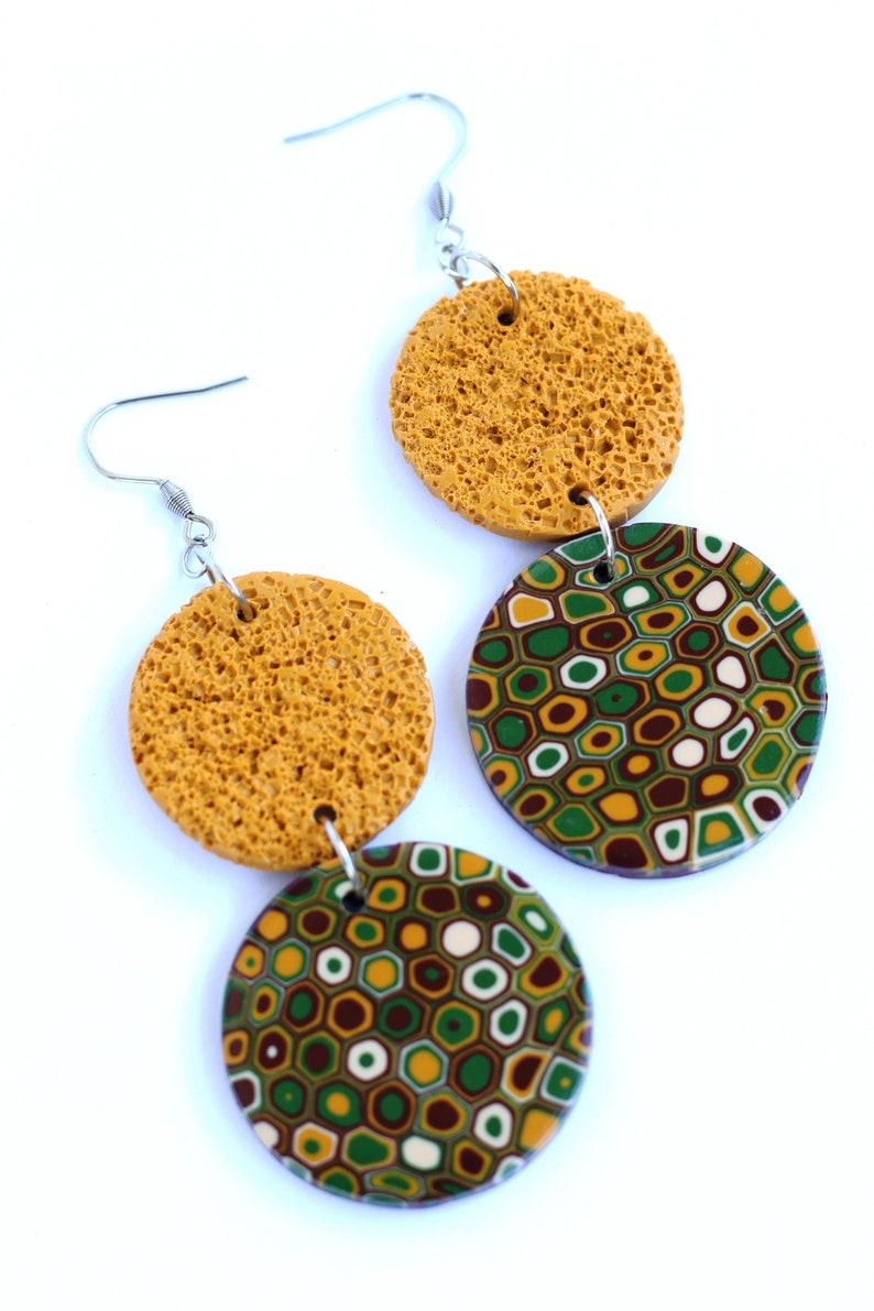 Green geometric earrings Yellow bead earrings Anniversary gift for wife Polymer clay earrings for women Chunky bold earrings