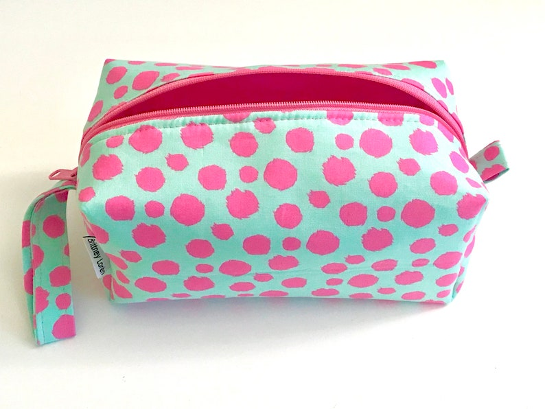 e80deaa0f7dc Cosmetic Bag, Makeup Bag, Travel Bag, Box Pouch, Pink Panther, Pink, Polka  Dots, Toiletry Bag